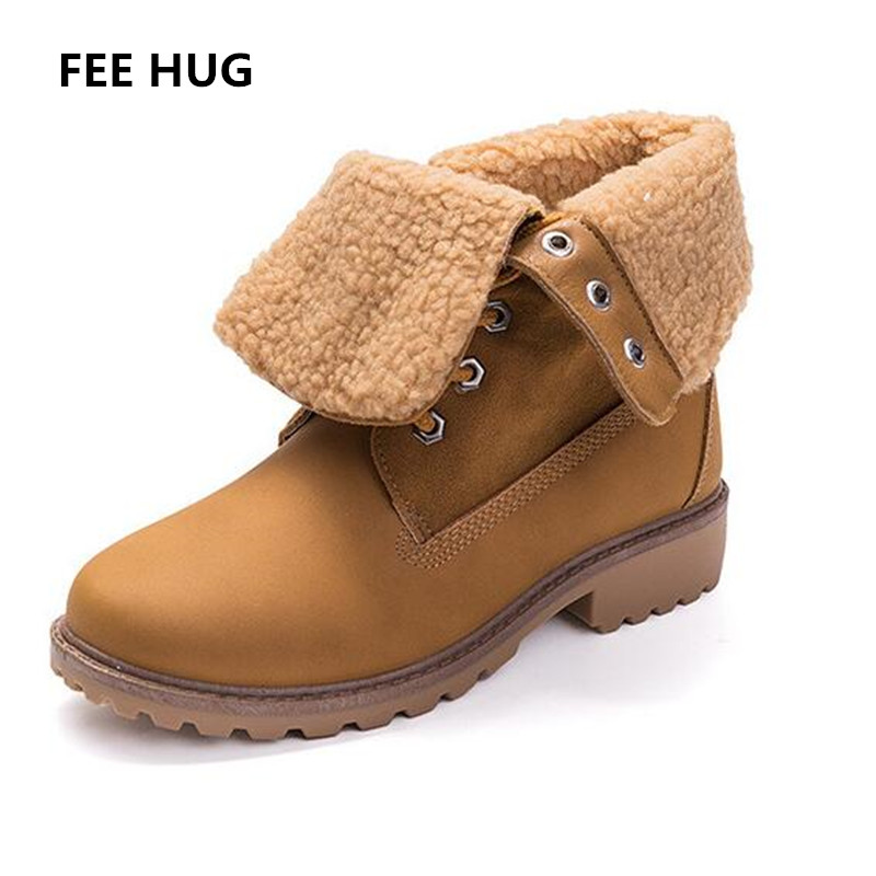 FEE HUG Designed Brand Winter Woman Shoes Faux Fur Warm Snow Boots For Women Ladies Lace Up College Martin Boots British Style brand fur warm martin boots snow shoes winter wild motorcycle boots women lace up flats ankle boots for women slip on shoes 2017