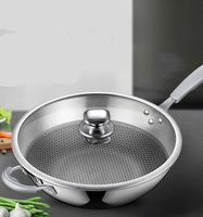 [TB05]Non stick stainless steel smoke free household wok pan induction cooker gas stove for wok