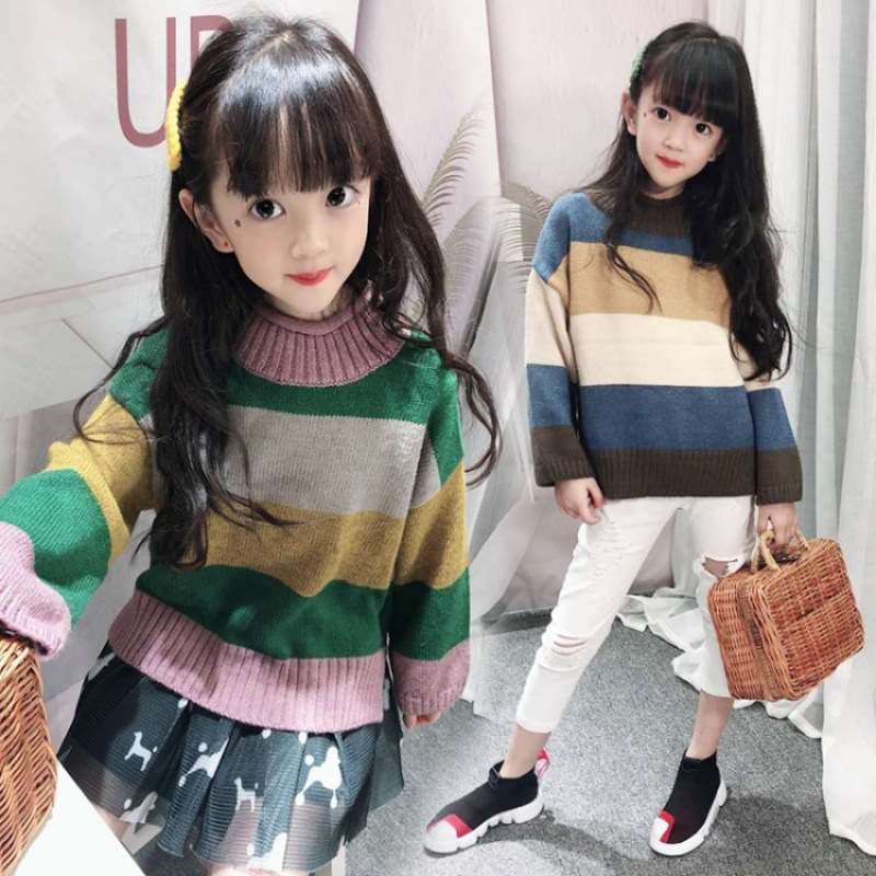 Kids Sweater Autumn Winter Girls 2018 Pullover Kids Sweater New Fashion Knit Korean Style Children Clothing 10 Pull Fille Hiver купить в Москве 2019