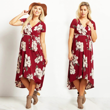 цены на Summer Pregnancy Plus Size Dress Elegant V-Neck Sashes Floral Short Sleeve Maternity Clothes For Pregnant Women Dresses W013 в интернет-магазинах