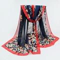 Accesorios de verano de La Bufanda de Las Mujeres 2017 de La Gasa de la Bufanda de Seda de la Impresión Marca Foulard bufandas chales de Protección Solar de La Moda