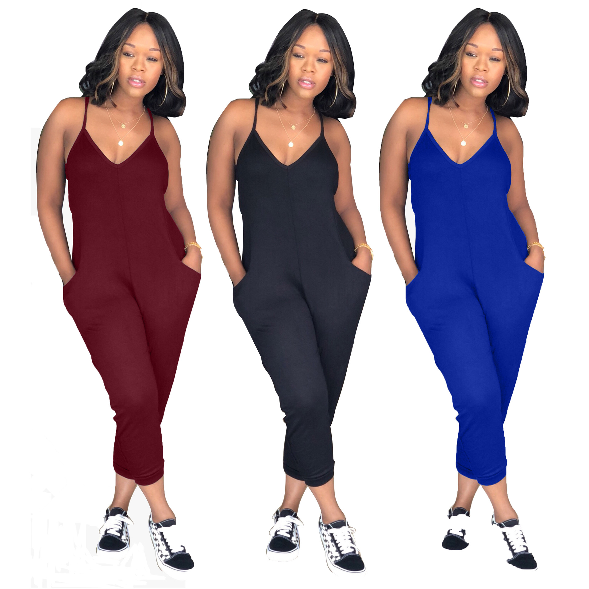 Sexy Straps Deep V Neck Solid Color Jumpsuit Plus Size 3XL big Women Playsuit Streched Summer Casual Rompers SMR9006