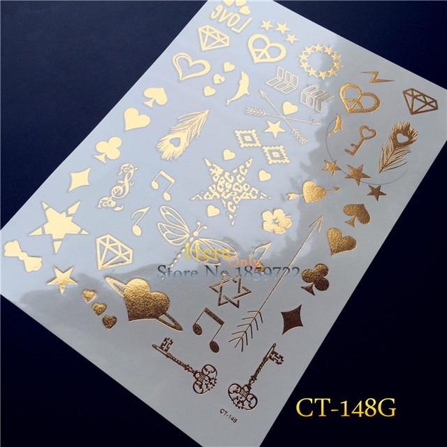 1PC Temporary Fake Tattoo Sticker Cute Dolphin Finger Tattoo Dragonfly HT148G Gold Key Metallic Spade Heart Diamond Tattoo Paper