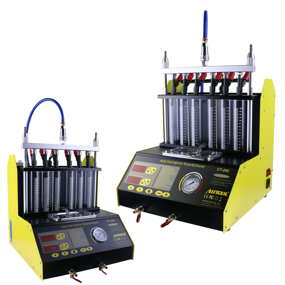 Neweest CT200 6/4 cylinder Car Motorcycle Auto Ultrasonic Injector Cleaning Tester machine 220/110V Better than Launch CNC602A