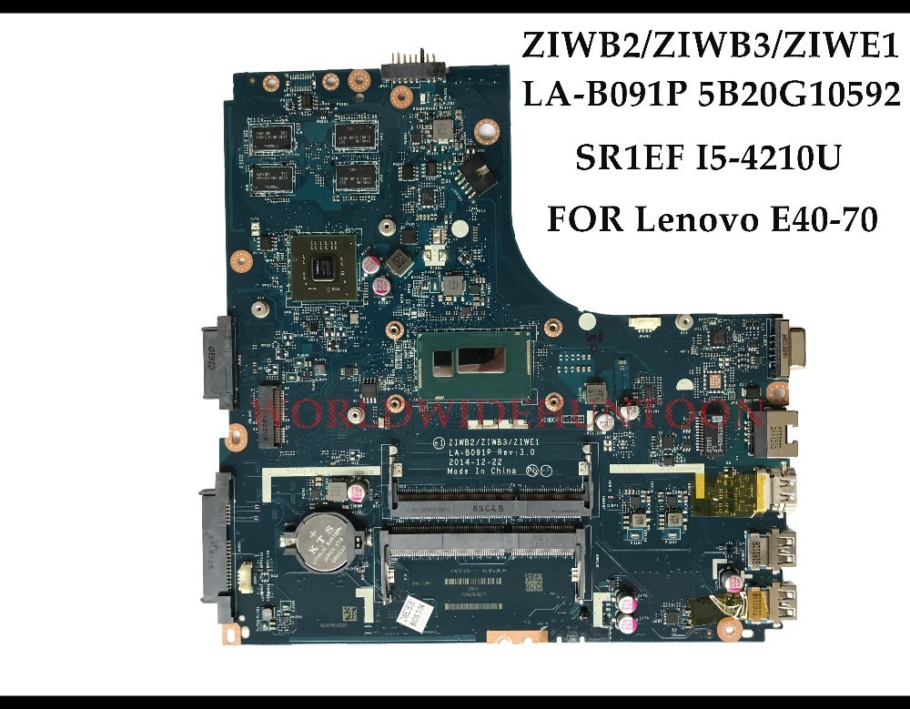Computer & Office Lovely High Quality 5b20g10592 For Lenovo Ideapad E40-70 Laptop Motherboard Ziwb2/ziwb3/ziwe1 La-b091p Sr1ef I5-4210u Ddr3l 2gb Tested