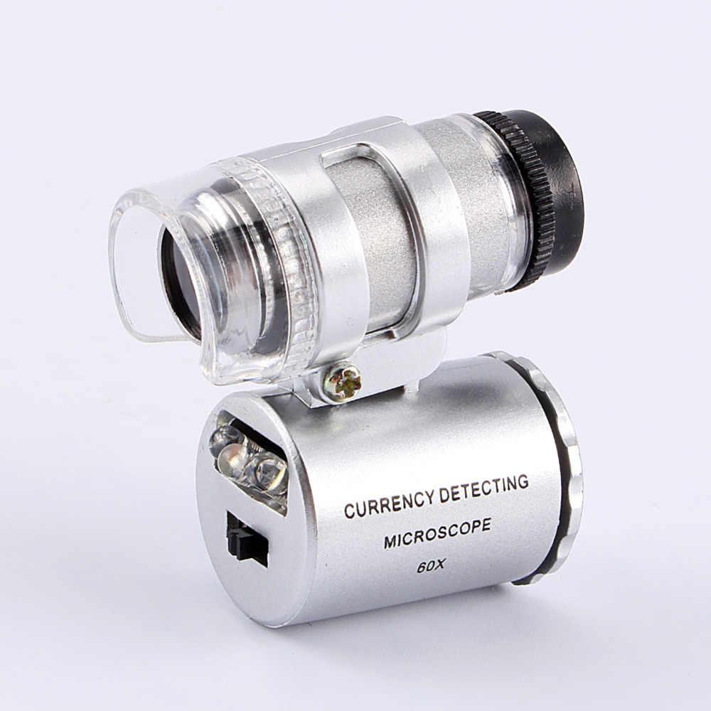 Ręczny Mini 60X mikroskop kieszonkowy biżuteria lupa lupa wykrywania waluty w/LED i światła UV obrotowy przełącznik projekt lupa