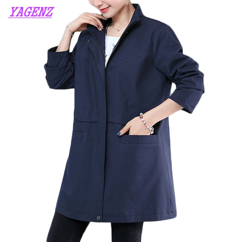 Women's Windbreaker coat Autumn Fashion embroidery Casual cotton loose feminino Long sleeve plus size   Trench   coats 4XL B925