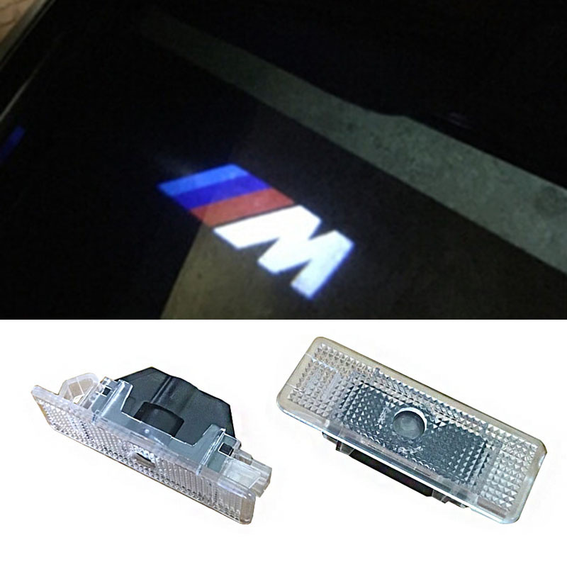 2pcs LED Car door courtesy laser projector Logo Ghost Shadow Light M logo FOR BMW E39 E52 E53 new 2pcs pair high power led ghost shadow light logo projector vehicle door courtesy laser for bmw brand car styling logo design