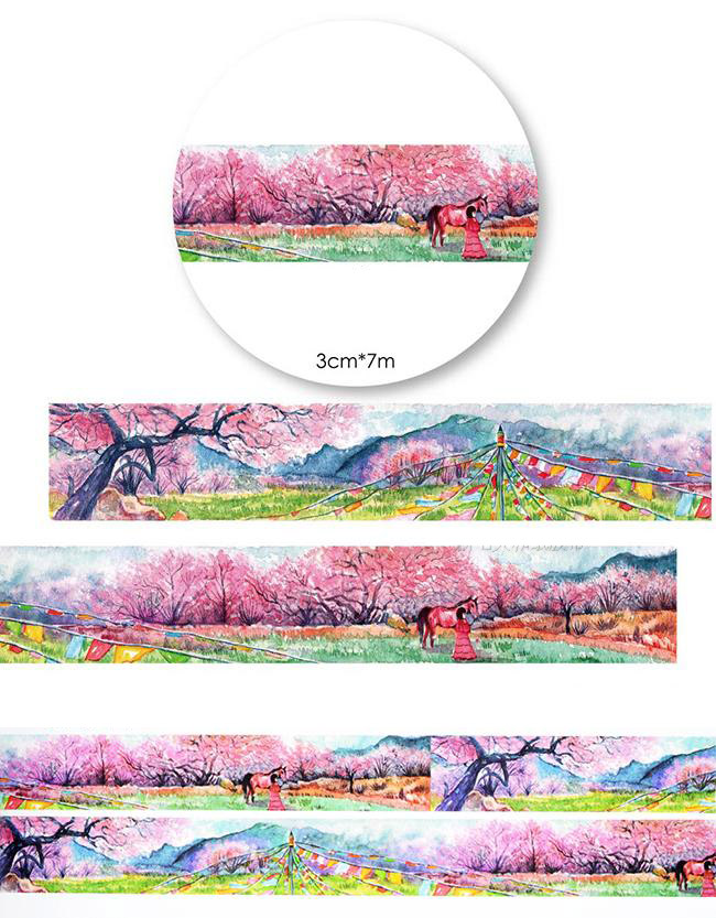 1Roll=30mmx7m High Quality Peach Blossom Pattern Japanese Washi Decorative Adhesive Tape DIY Masking Paper Tape Label Sticker savannah bee company natural and organic peach blossom shimmer lip tint 0 09 ounce