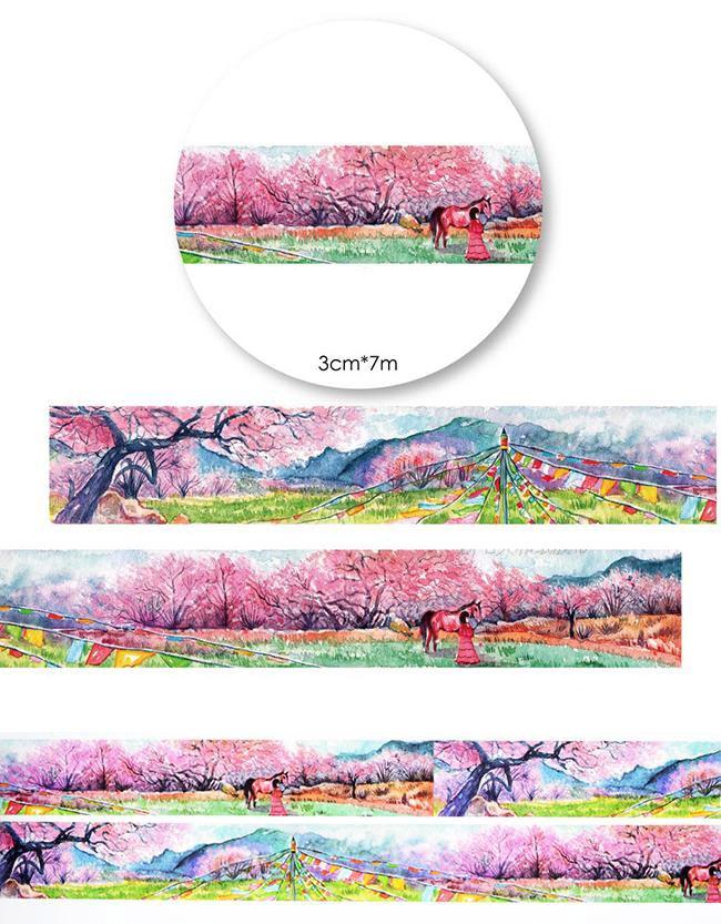 все цены на  1Roll=30mmx7m High Quality Peach Blossom Pattern Japanese Washi Decorative Adhesive Tape DIY Masking Paper Tape Label Sticker  онлайн