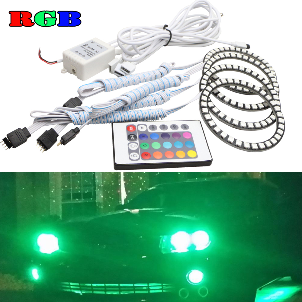 5050SMD RGB angel eyes kit Multi-color Led halo rings headlight for VW Volkswagen golf 5 MK5 2003 2004 2005 2006 2007 2008 2009 hochitech white 6000k ccfl headlight halo angel demon eyes kit angel eyes light for vw volkswagen golf 5 mk5 2003 2009