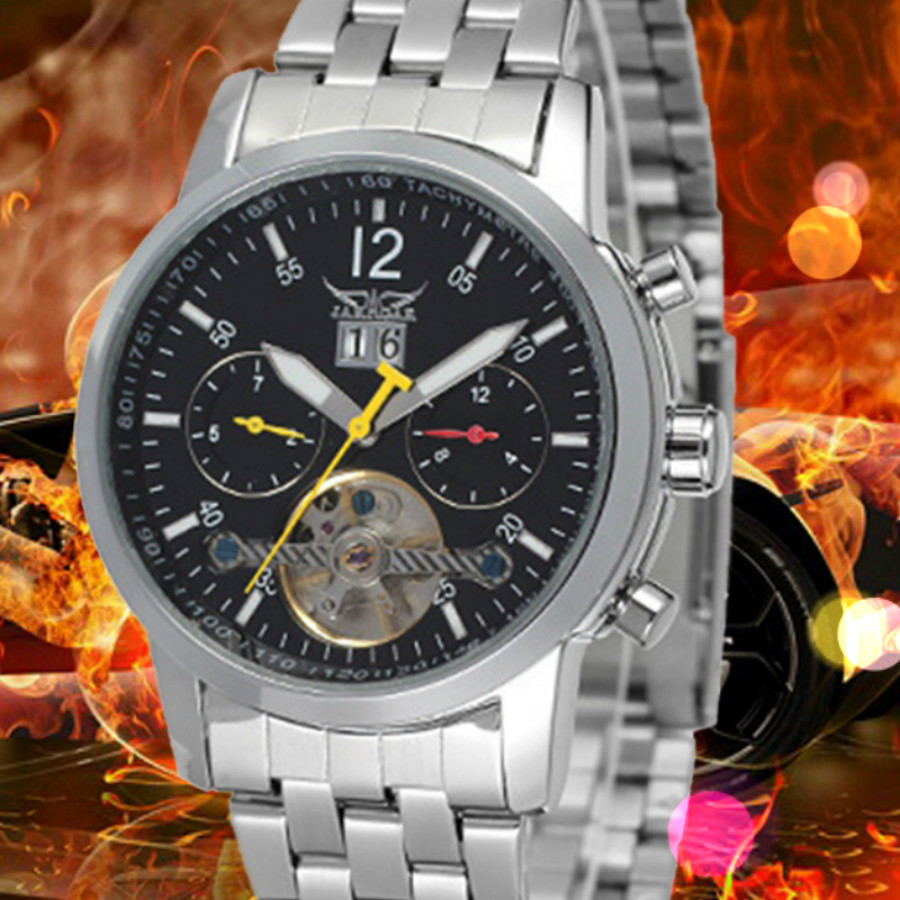 New Calendar Date Day Display Silver Case Male Clock Sport Mechanical Hour Watches Men Luxury Automatic Tourbillon Watch forsining tourbillon designer month day date display men watch luxury brand automatic men big face watches gold watch men clock