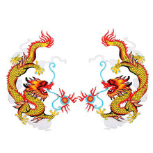 Big Dragon Animal Embroidered Patches Iron on Sew for Clothes Applique Diy Sticker Parches Down Jacket Party Christmas