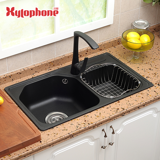 stone kitchen sink comfort mats household quartz granite double bowl above counter accessories vegetables basin sinks