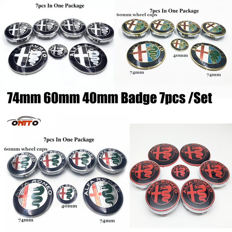 For alfa Romeo Mito 147 156 159 166 Giulietta Spider 74mm 60mm 40mm Badge 7pcs emblem Front Tail label Wheels Caps steer sticker cd iron maiden a matter of life and death
