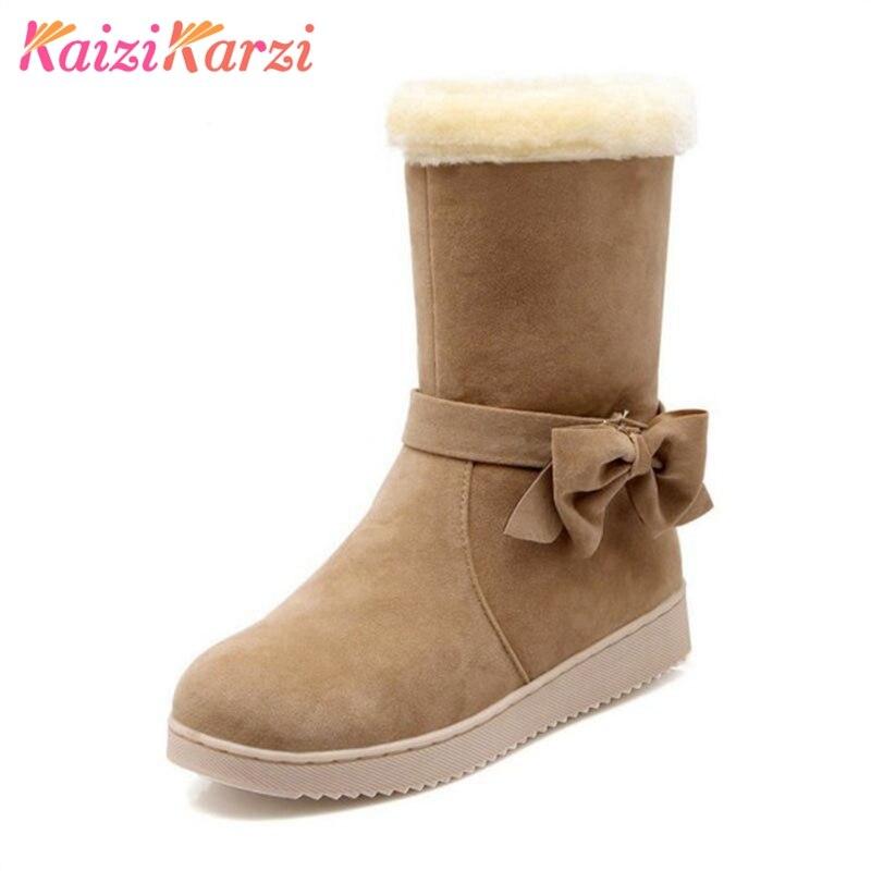 L'hiver 32 40 Footwears Épaisse Fourrure Kaizikarzi Taille Femmes rouge Avec Court Chaussures Appartements Demi Froid Pour Bowtie jaune Bottes Noir Neige TST7aAwq