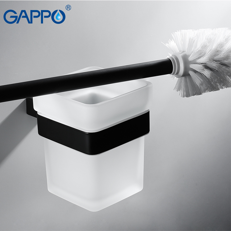 GAPPO Toilet Brush Holders black wall mounted bathroom Brush Holders hanger bath hardware accessories storage