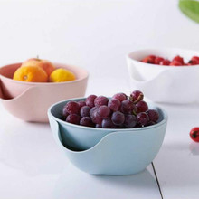 1PCS Plastic Double Layer Dry Fruit Plate Dish Containers Garbage Holder Drain Basket Bowl Food Kitchen Storage