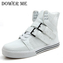 New Fashion High Top Casual Shoes For Men PU Leather Lace Up Red White Black Color