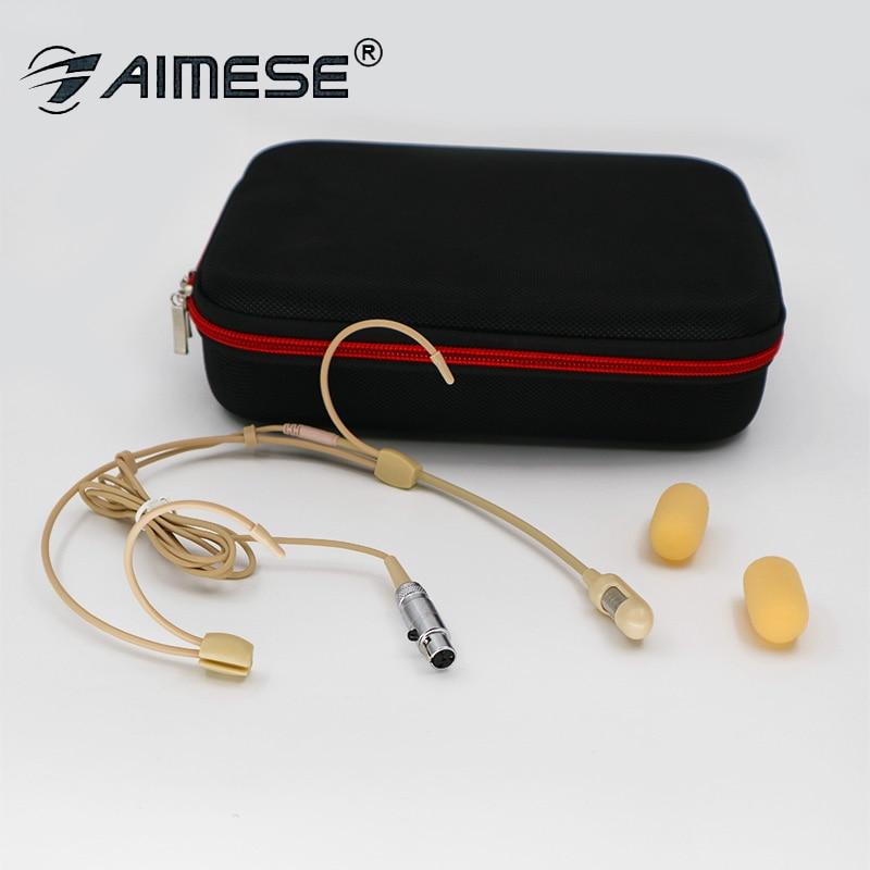 Micro casque cardioïde classique pour Shure SLX PGX ULX QLX etc Performance de scène sans fil micros Beige double oreille Mike TA4F
