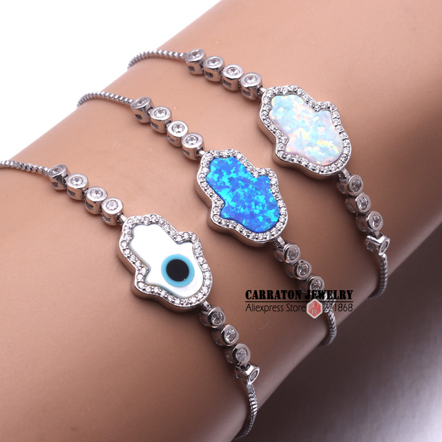 New Fashion Synthetic Opal Mother of Pearl Shell Hamsa Hand of Fatima Genuine 925 Sterling Silver Bracelet