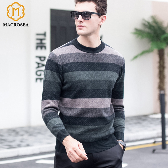 3d0b303113 MACROSEA Men s Patchwork Striped Wool Sweaters Classic Style Male Argyle  Pattern Casual Pullover Knitting Men s Tops Clothing
