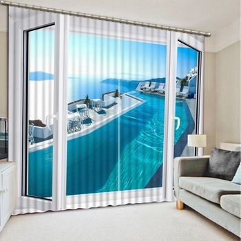 Hot 2016 Customized 3D curtains Natural Beautiful sea scenery window Home Decoration