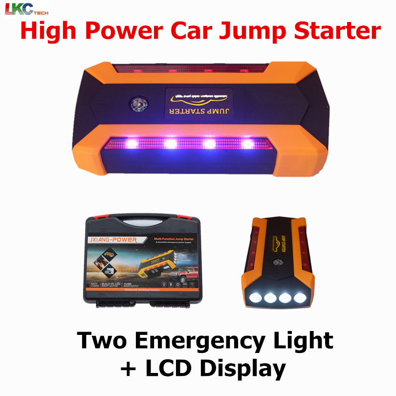 Multi-Function High Capacity 89800mah Car Jump Starter 12V Emergency Car Charger 4USB Power Bank Digital Compass SOS LCD Display