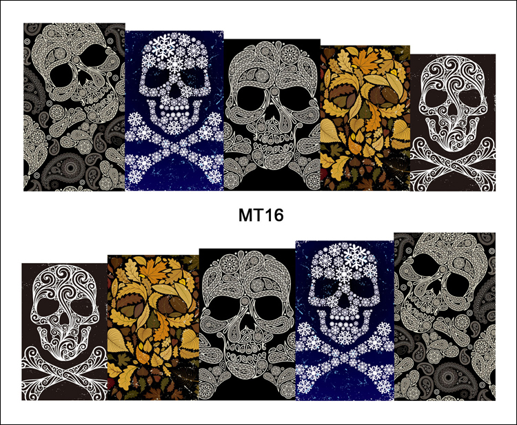 1 Hoja de Uñas MT16 Completo Cubierta De Nieve Paisley Cráneo Clavo de La Manera