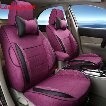 CARTAILOR Flax Cover Seats for Land Rover Discovery Sport 2016 Car Seat Cover Accessories Set Balck Car Cushion Covers Protector