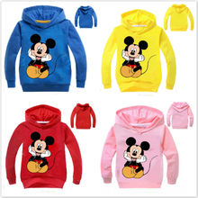 New Spring Children Cartoon Mickey Print T Shirt Baby Boy Clothes Girl Long Sleeve T-Shirt Kid Hooded Tops Tee Baby Sweatshirts(China)