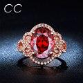 Симпатичные Красный Кристалл Вечеринка Кольца Для Женщин Винтаж Розовое Золото позолоченный Коктейль Кольцо Диаманта CZ Рубин Ювелирных Изделий Bagues Bijoux Femme CC241