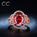 Cute Red Crystal Party Rings For Women Vintage Rose Gold Plated Cocktail Ring CZ Diamond Ruby Jewelry Bijoux Bagues Femme CC241