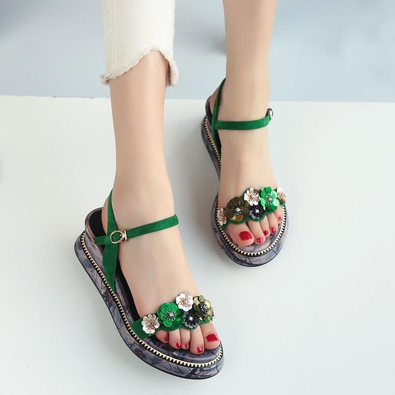 Plataforma Zapatos Cuña Mujer Esrfiyfe Las La Flor De Negro verde Mujeres Cómodos Casuales Señoras 2019 Sandalias Gamuza Chico Nuevo Verano FqnwBF7O