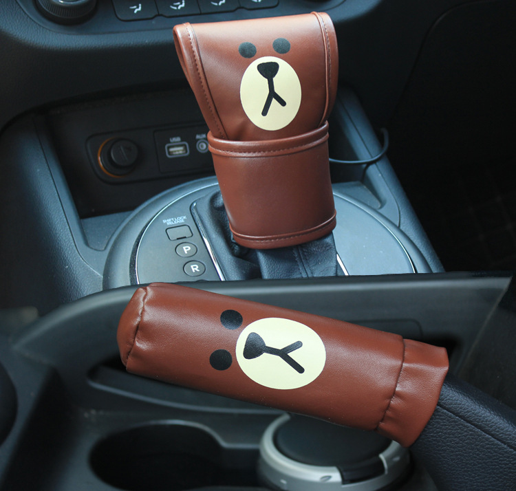 Car Leather Gear Shifter Hand Cover - Brown Bear, Yellow Chicken Style