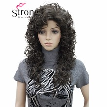 StrongBeauty Long Super Curly Dark Brown Full Synthetic Wig Womens Wigs COLOUR CHOICES