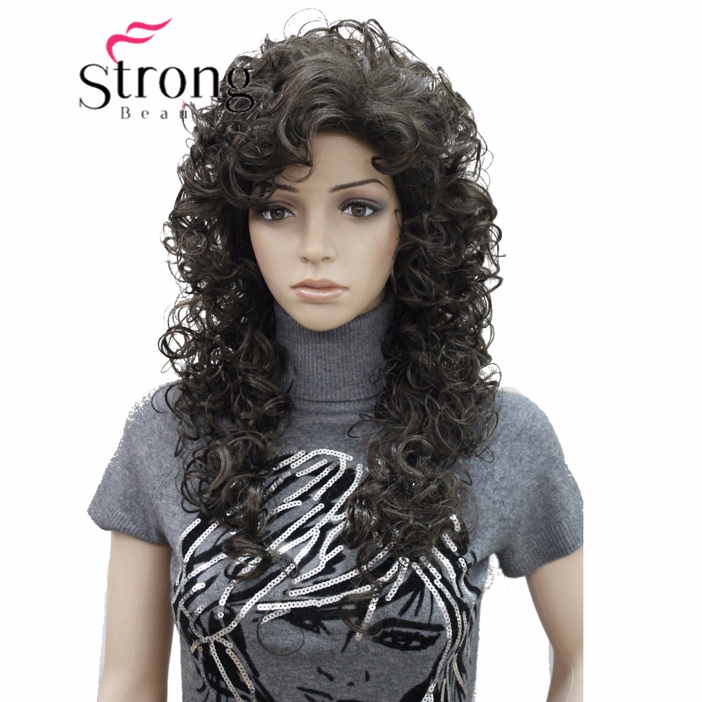 StrongBeauty Long Super Curly Dark Brown Full Synthetic Wig Womens Wigs COLOUR CHOICES ...
