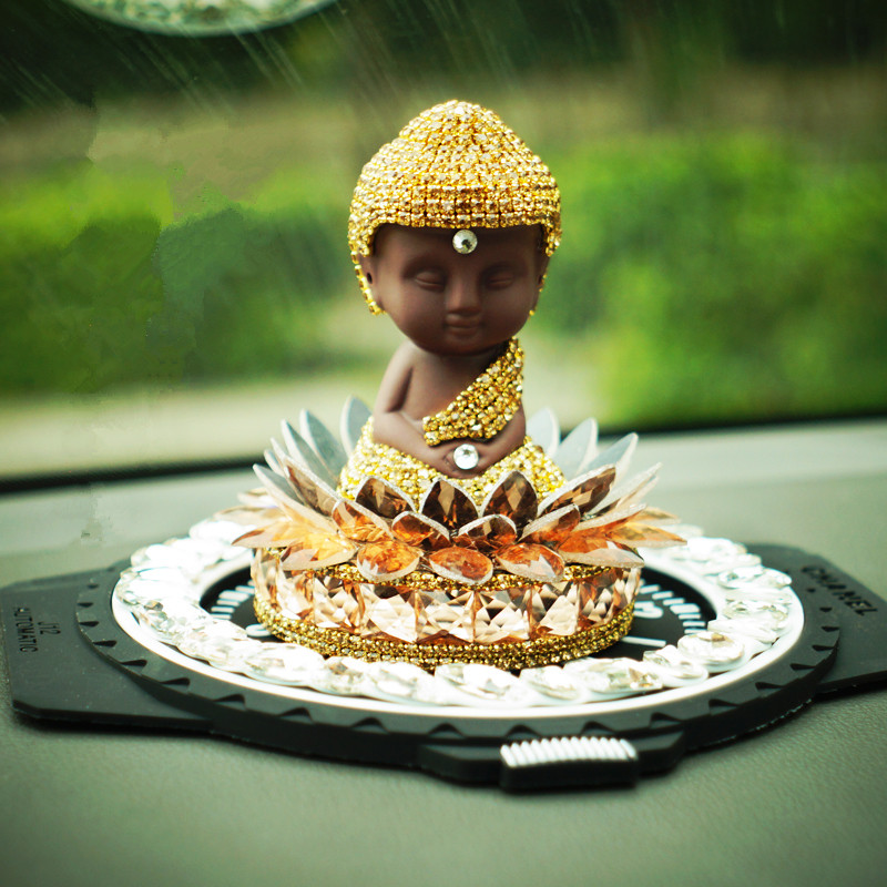 Car Interior Dashboard Lucky Golden Buddha Ornament Glitter Crystals Car Perfume Stand Safe Trip Auto Air Freshener Decoration