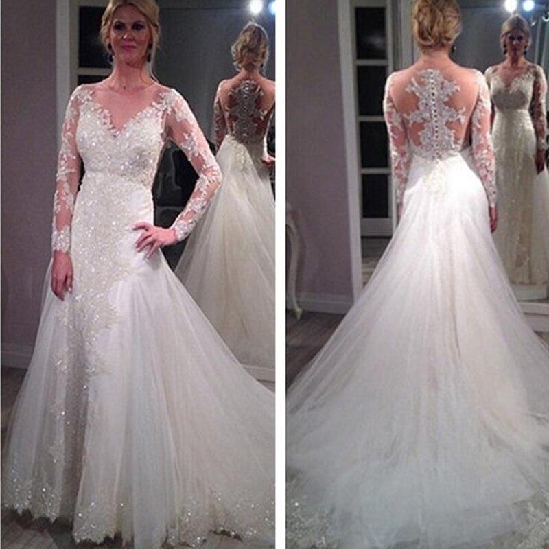 Wedding Dresses Wedding Gown Sheer Long Sleeves White: Long Sleeve White Lace Wedding Dresses Arabic 2017 Vintage