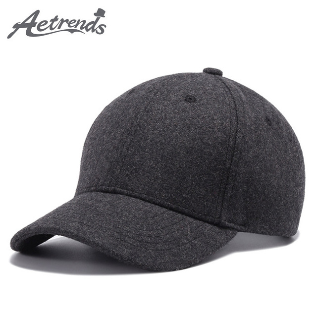 AETRENDS  2017 Black Gray Wool Baseball Cap Men Snapback Hats Bone Cap  Z-5276 5d23eeca11f9