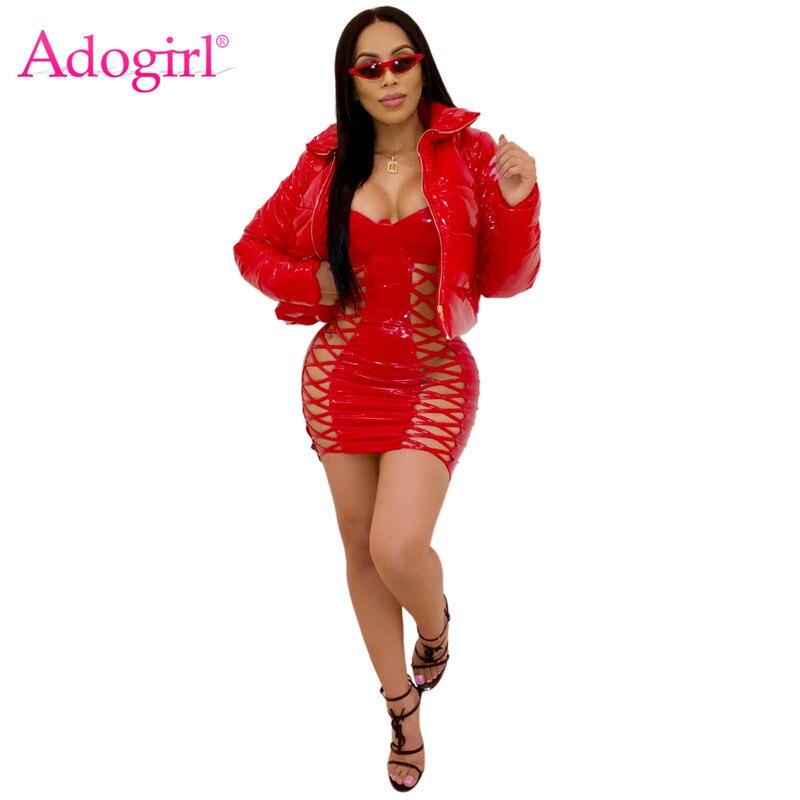 Adogirl PU Leather Cotton Padded Coat Zipper Stand Collar Long Sleeve Short Down Jacket Warm Winter Outerwear Women Overcoat