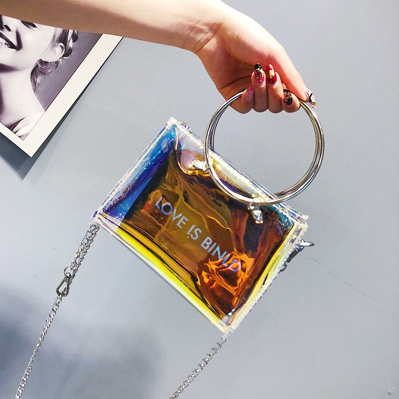 ABDB-Fashion Women Bag Set Shoulder Bag+Clutch For Teenage Girls Fashion Laser-Jelly Crossbody Bag Circle Handle Tote