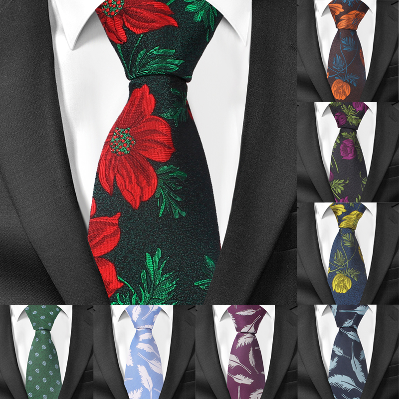 Fashion Floral Ties For Men Skinny Mens Necktie Gravatas Wedding Groom Neck Tie Cravat Polyester Jacquard Slim Necktie Vestidos