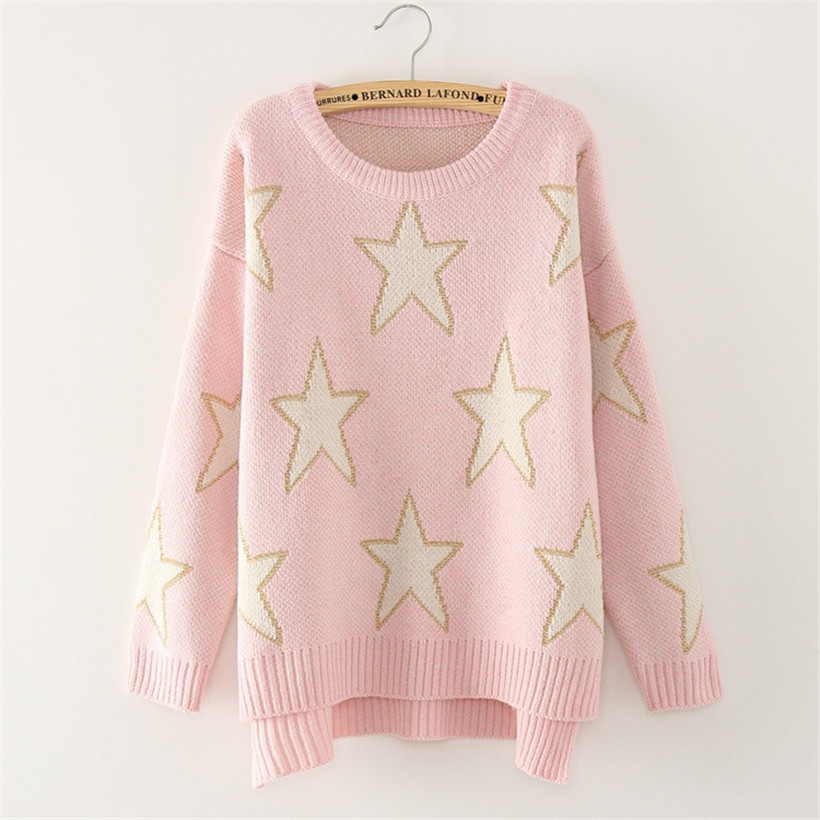 Women Gold Five-pointed Star Sweater 2016 Fashion Short In Front Long Irregular Knit Pullover Fall Winter Hit Color Pink Sweater