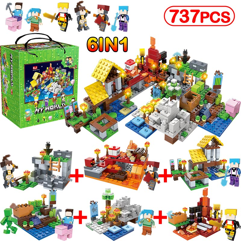 737pcs/6IN1 MY WORLD Minecrafted City Figures Arms Building Blocks Sets Compatible Legoinglys Classic DIY Toys For Children Gift my world figures toy building blocks compatible with legoinglys minecrafted city 4 in 1 diy garden bricks toy gift for kid