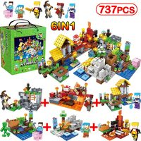 737pcs/6IN1 MY WORLD Minecrafted City Figures Arms Building Blocks Sets Compatible Legoinglys Classic DIY Toys For Children Gift