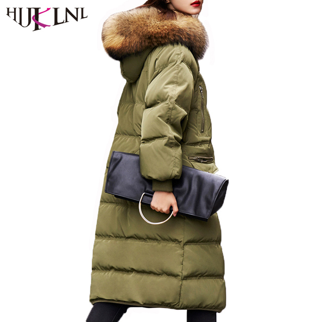 c878dab99 US $76.41 |HIJKLNL 2017 Winter Women Thick Long Down Jacket Coat With  Racoon Fur Collar Fashion Korean Oversize Hooded Down Parka NA533-in Down  Coats ...
