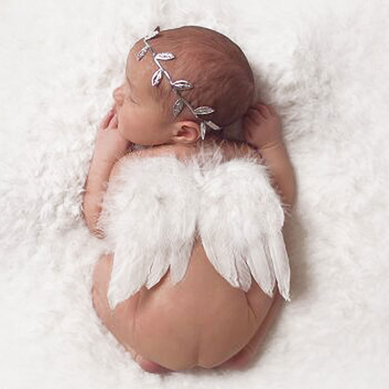 Baby newborn photography props accessories infant baby girls white angel feather wings feather photo props newborn