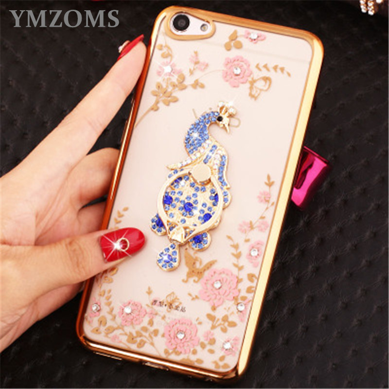 Bling Diamond <font><b>Case</b></font> For <font><b>Vivo</b></font> X9S Plus X9 Plus X7 Plus X6 Plus V3 <font><b>V3Max</b></font> Finger Ring Butterflies Holder Phone <font><b>Case</b></font> image