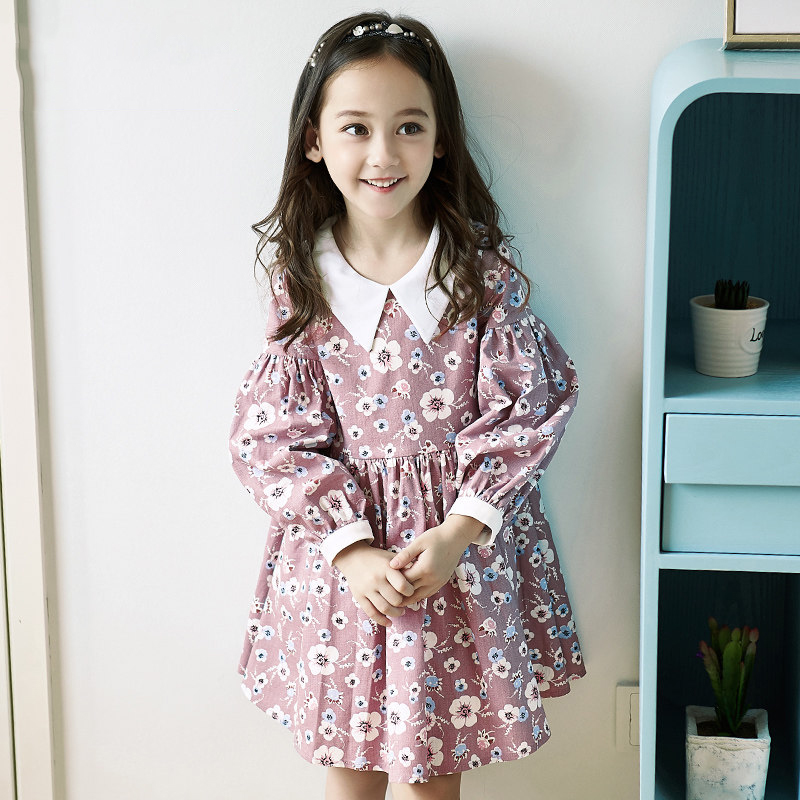 2017 Girls Flower Dresses Foral Elegant Clothes Birthday Party Frocks Baby Toddlers Warm Clothing for Age5678910 11 12 Years Old